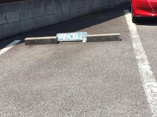 マメショの文字が駐車場に書かれている
