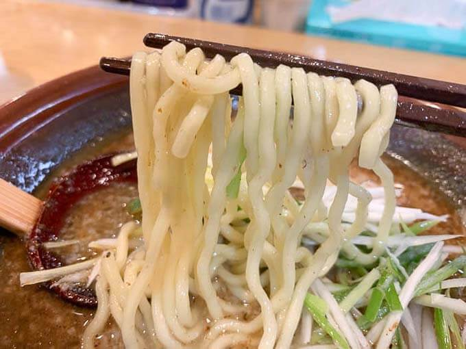 ちぢれた中太麺