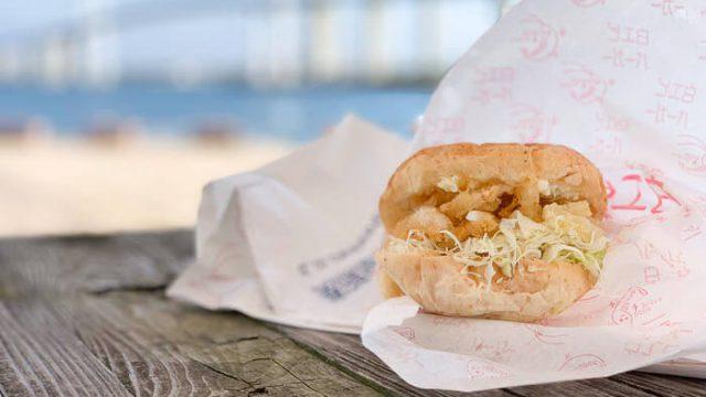 【白エビバーガー 道の駅】カモンパーク新湊のご当地バーガー「さくさく天ぷらとマヨネーズがマッチ」