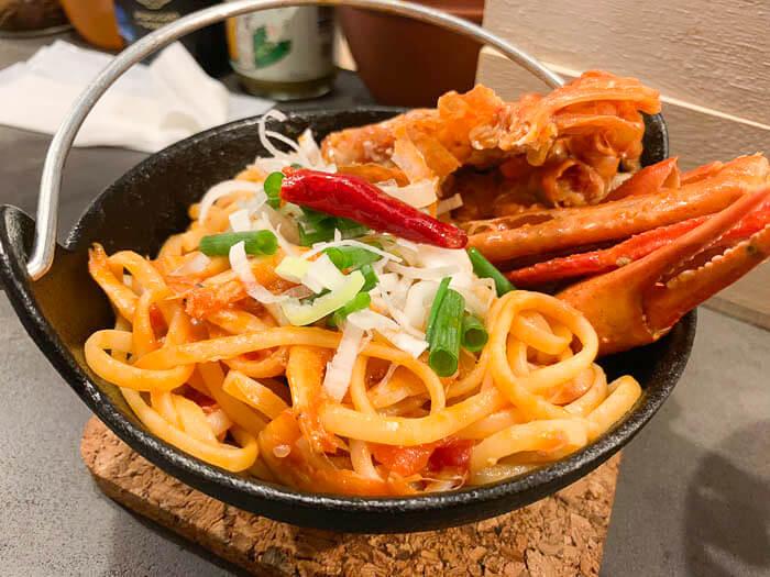 紅ズワイ蟹と白えびのリングイネ